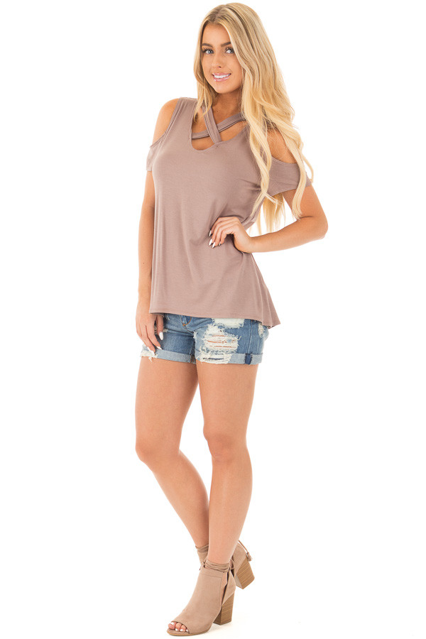 Mocha Criss Cross Top with Cold Shoulder Cap Sleeves front full body