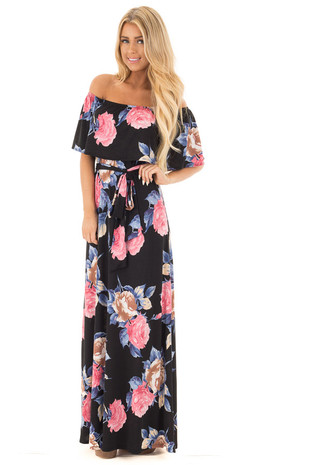 Black Printed Floral Off Shoulder Maxi Dress front full body