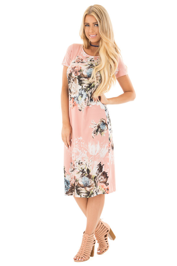 Blush Floral Slinky Short Sleeve Midi Dress front full body