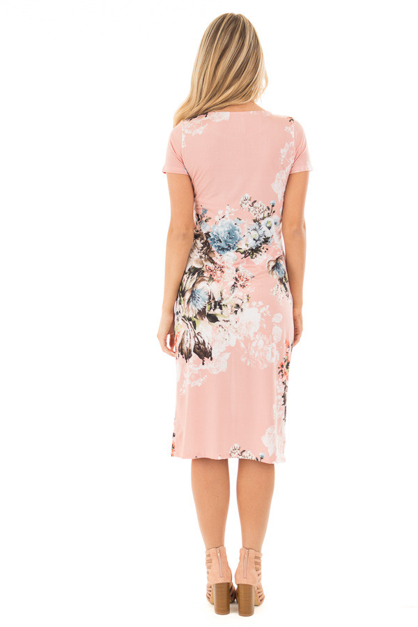 Blush Floral Slinky Short Sleeve Midi Dress back full body