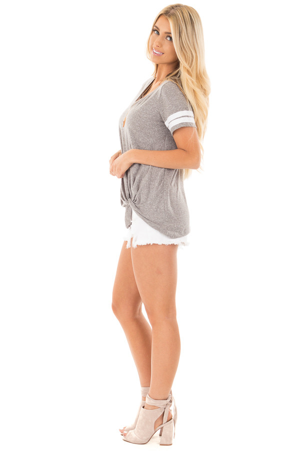 Grey with White Striped Cap Sleeve Top and Twist Detail side full body