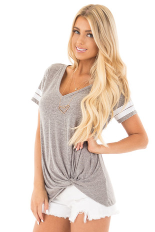 Grey with White Striped Cap Sleeve Top and Twist Detail front close up