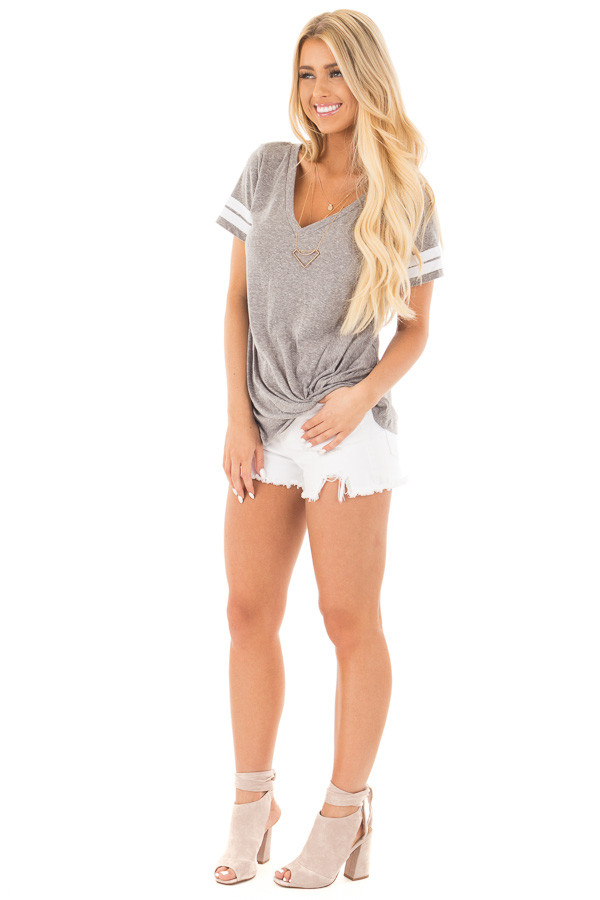 Grey with White Striped Cap Sleeve Top and Twist Detail front full body