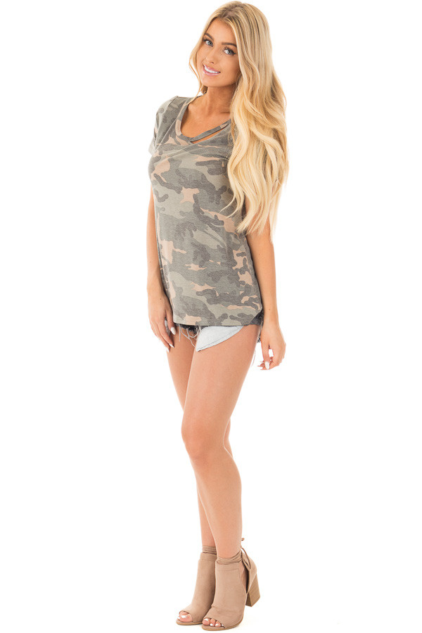 Camouflage Short Sleeve Top with Cut Out Neckline front full body