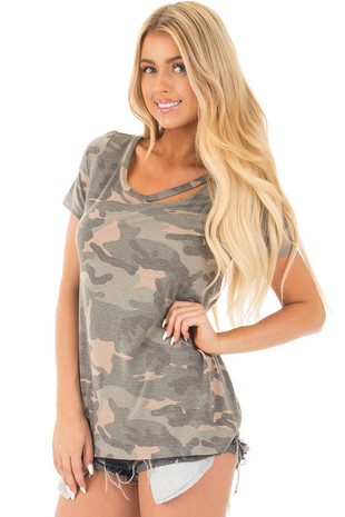 Camouflage Short Sleeve Top with Cut Out Neckline front close up