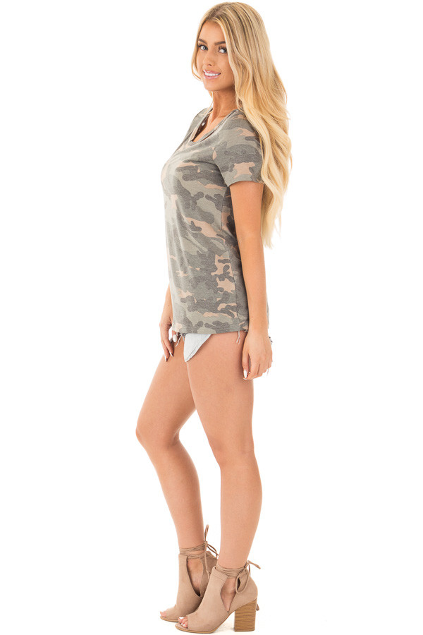 Camouflage Short Sleeve Top with Cut Out Neckline side full body