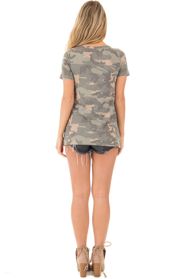 Camouflage Short Sleeve Top with Cut Out Neckline back full body