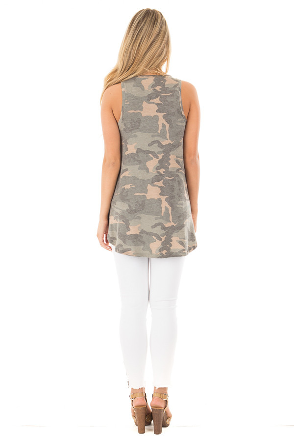 Camo Sleeveless V-Neck Top back full body