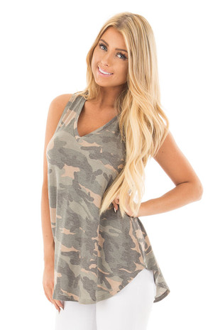 Camo Sleeveless V-Neck Top front close up