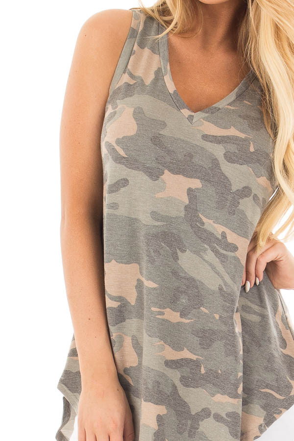 Camo Sleeveless V-Neck Top front detail