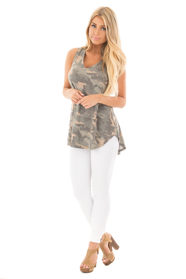 Camo Sleeveless V-Neck Top front full body
