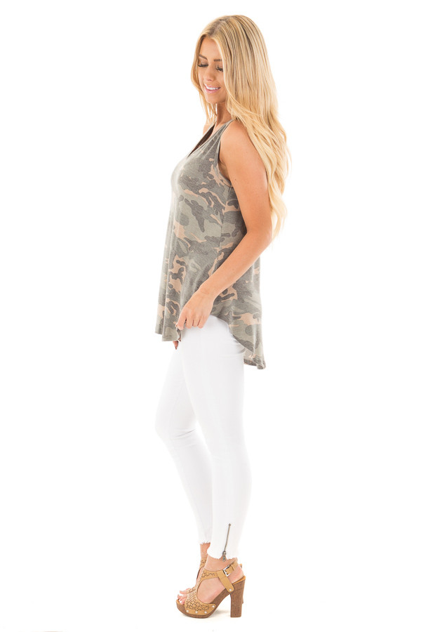 Camo Sleeveless V-Neck Top side full body