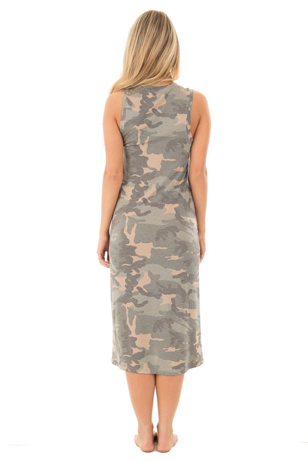 Camo Sleeveless Midi Dress with Side Slit Detail back full body