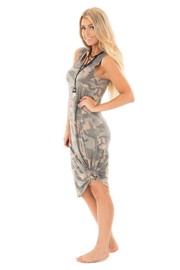Camo Sleeveless Midi Dress with Side Slit Detail side full body