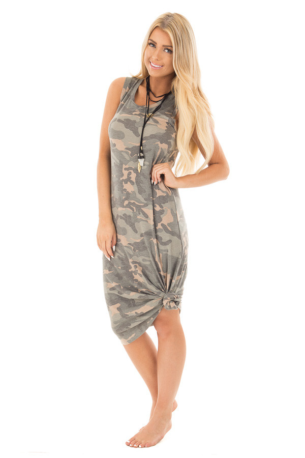 Camo Sleeveless Midi Dress with Side Slit Detail front close up