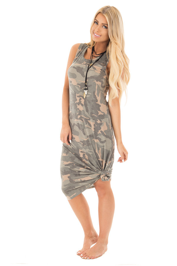 Camo Sleeveless Midi Dress with Side Slit Detail front full body
