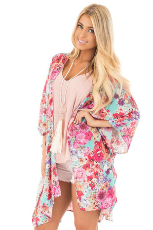 Mint 3/4 Sleeve Multi Floral Open Front Kimono front close up