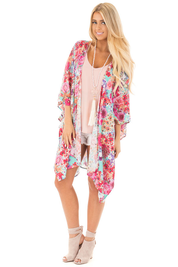 Mint 3/4 Sleeve Multi Floral Open Front Kimono front full body