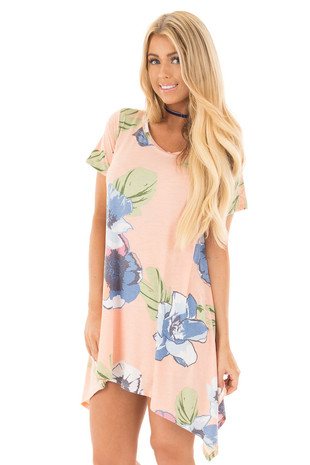 Peach Floral Short Sleeve Sharkbite Tunic Top front close up