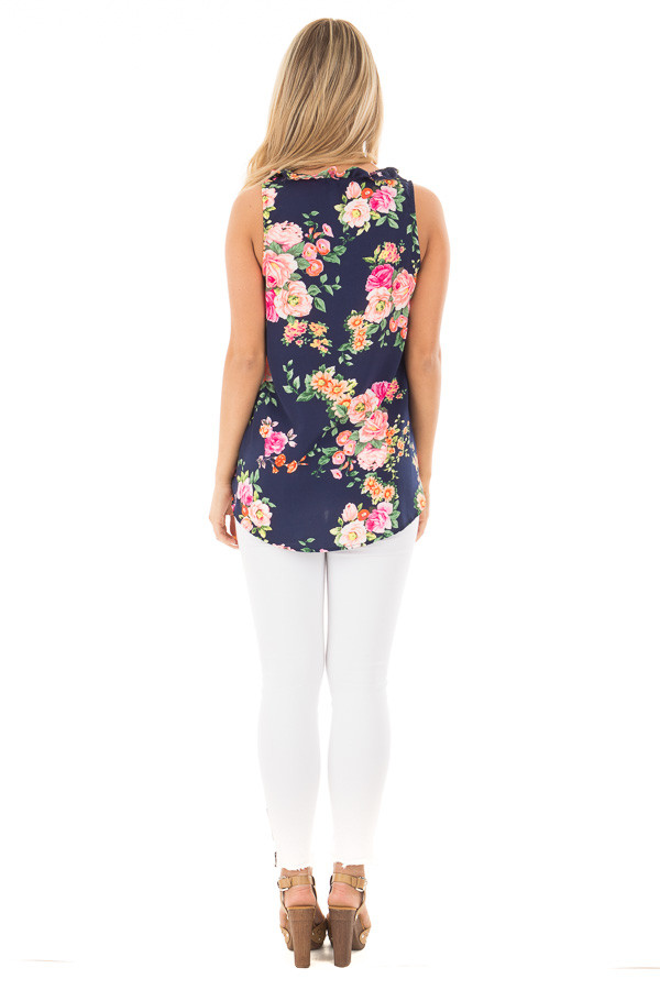 Navy Floral with Ruffle Neck Collar and Tie-Up Strings back full body