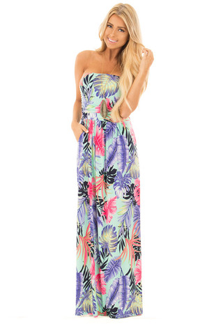 Mint Tropical Leaf Maxi Dress with Side Pockets front full body
