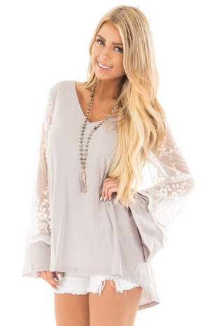 Silver V Neck Loose Fit Top with Bell Sleeves and Lace Detail front close up