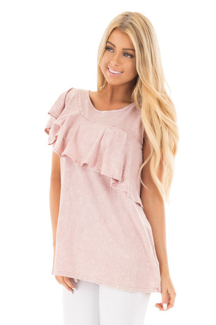 Dusty Blush Washed Tank with Ruffle Overlay Detail front close up