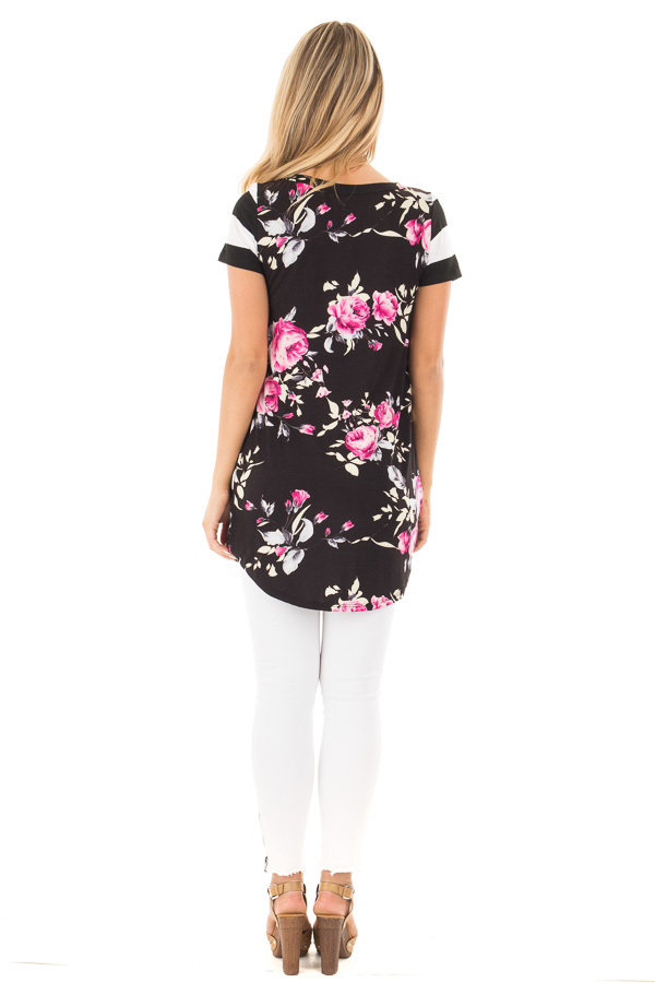 Black Floral Print Top With Stripe Arms and Pocket back full body