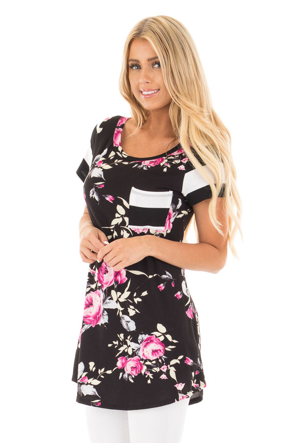 Black Floral Print Top With Stripe Arms and Pocket front close up