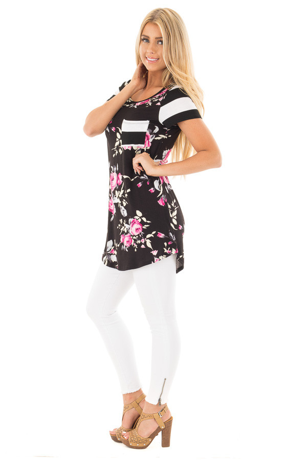 Black Floral Print Top With Stripe Arms and Pocket side full body