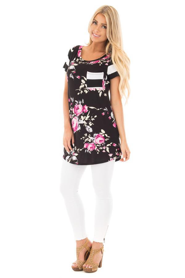 Black Floral Print Top With Stripe Arms and Pocket front full body