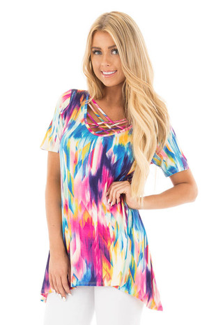 Multi Color Geometric Tie Dye Criss Cross V Neck Top front close up