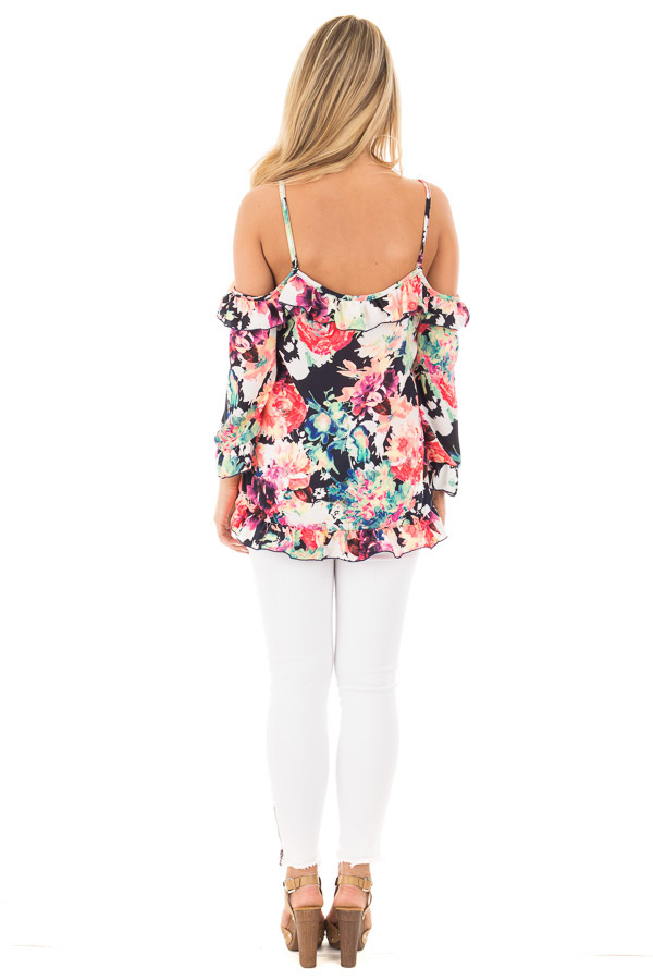 Black Multi Floral Cold Shoulder Top with Ruffled Detail back full body