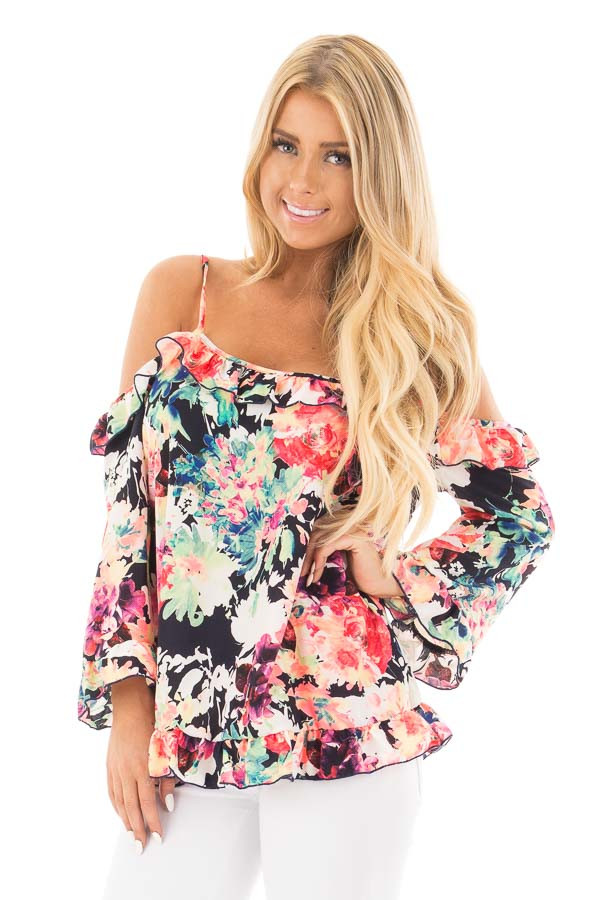 Black Multi Floral Cold Shoulder Top with Ruffled Detail front close up