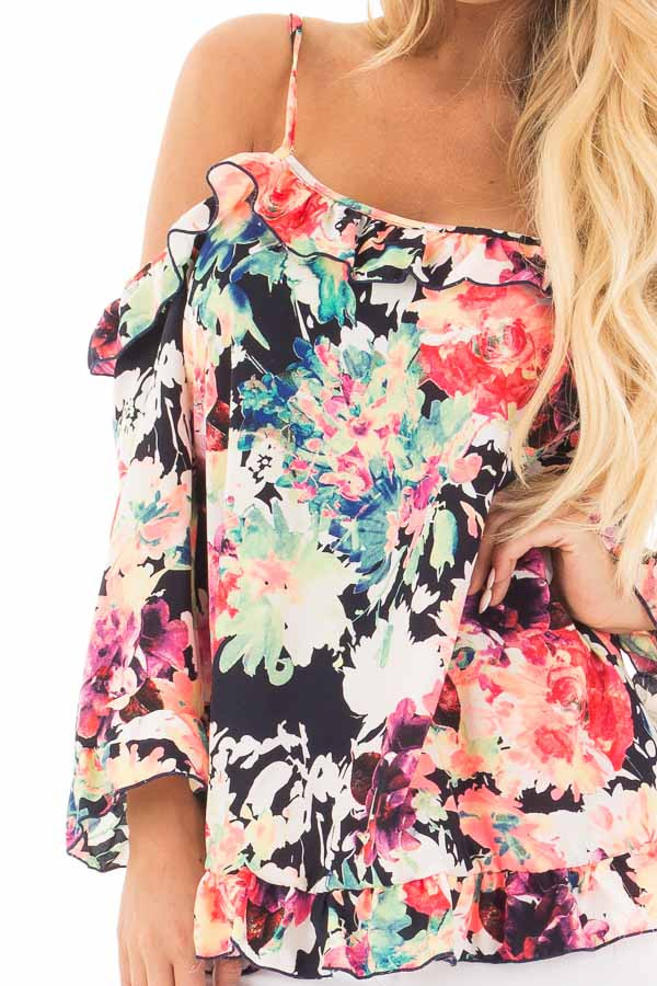 Black Multi Floral Cold Shoulder Top with Ruffled Detail detail