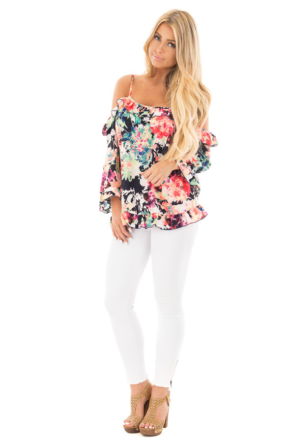 Black Multi Floral Cold Shoulder Top with Ruffled Detail front full body