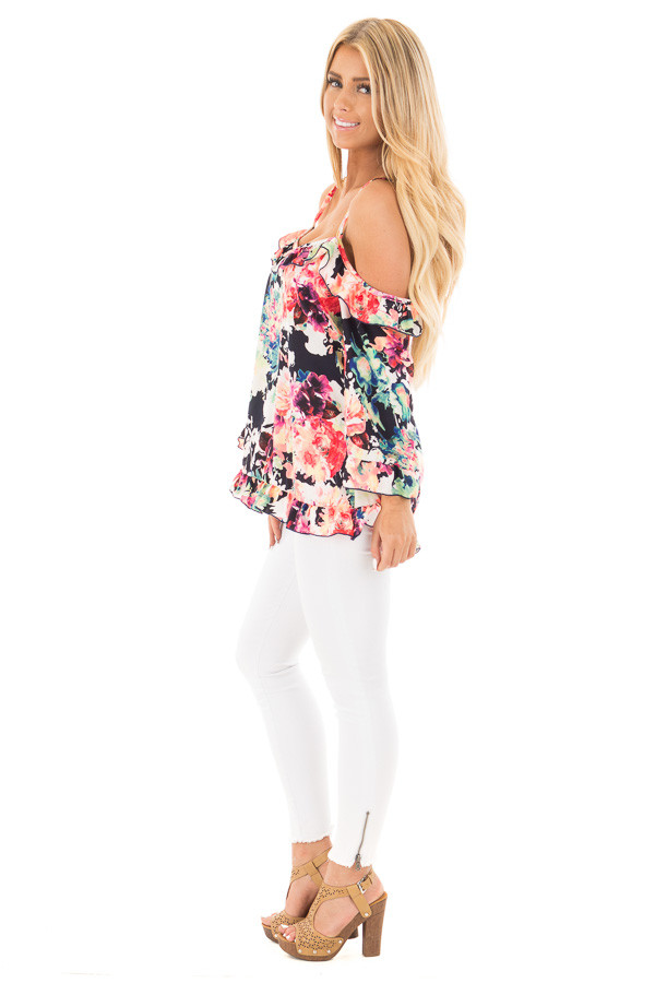 Black Multi Floral Cold Shoulder Top with Ruffled Detail side full body