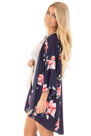 Navy Floral Printed Open Kimono side close up