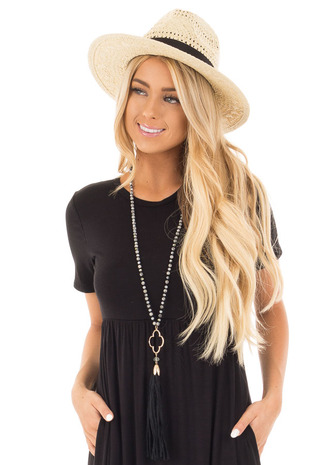 Black Marble Beaded Necklace with Clover Pendent and Tassel