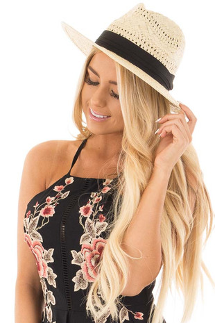 Tan Boho Chic Natural Straw Hat with Black Ribbon Detail front