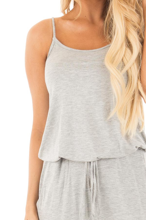 Heather Grey Sleeveless Jumpsuit with Elastic Waist Tie detail
