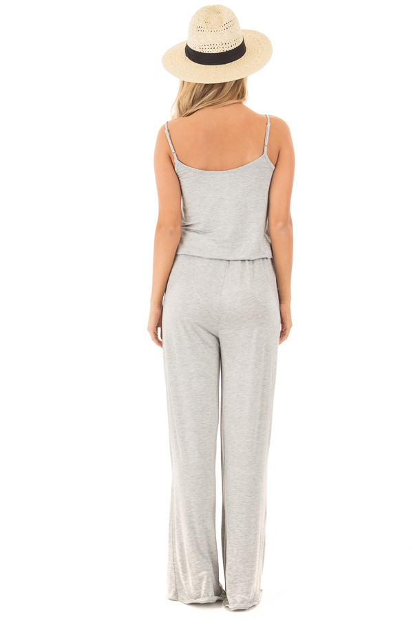 Heather Grey Sleeveless Jumpsuit with Elastic Waist Tie back full body