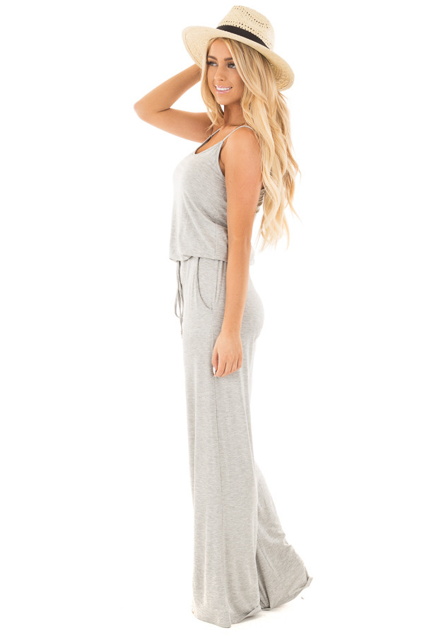 Heather Grey Sleeveless Jumpsuit with Elastic Waist Tie side full body