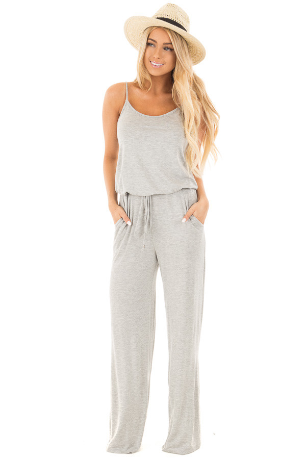 Heather Grey Sleeveless Jumpsuit with Elastic Waist Tie front full body