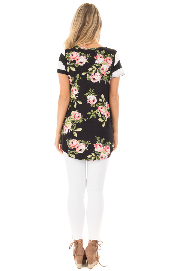 Black Top with Striped Contrast and Blush and Sage Floral Print back full body
