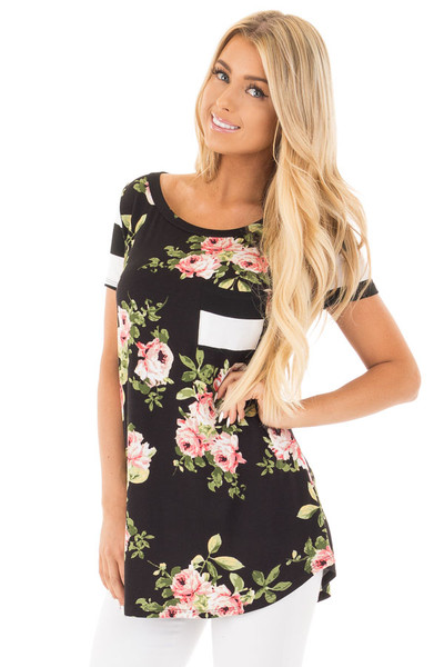 Black Top with Striped Contrast and Blush and Sage Floral Print front close up