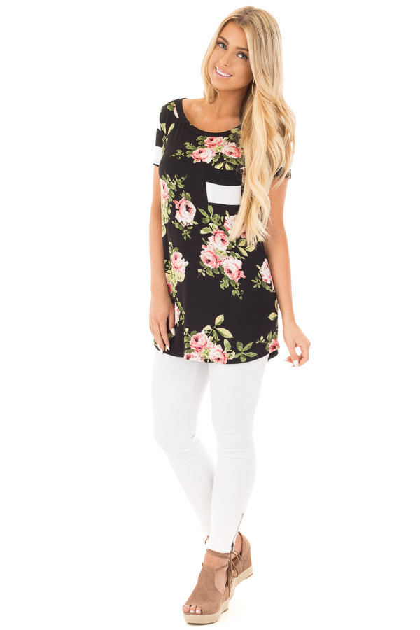 Black Top with Striped Contrast and Blush and Sage Floral Print front full body