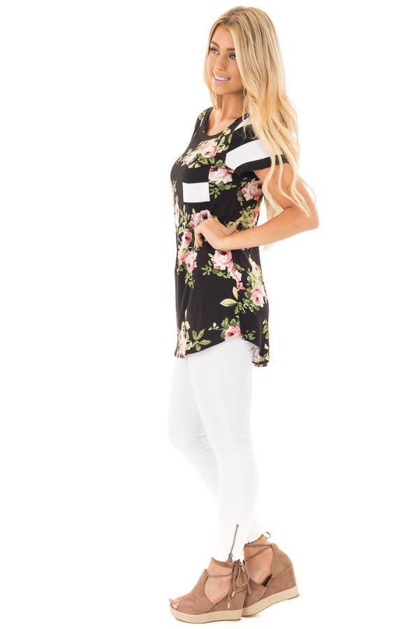 Black Top with Striped Contrast and Blush and Sage Floral Print side full body