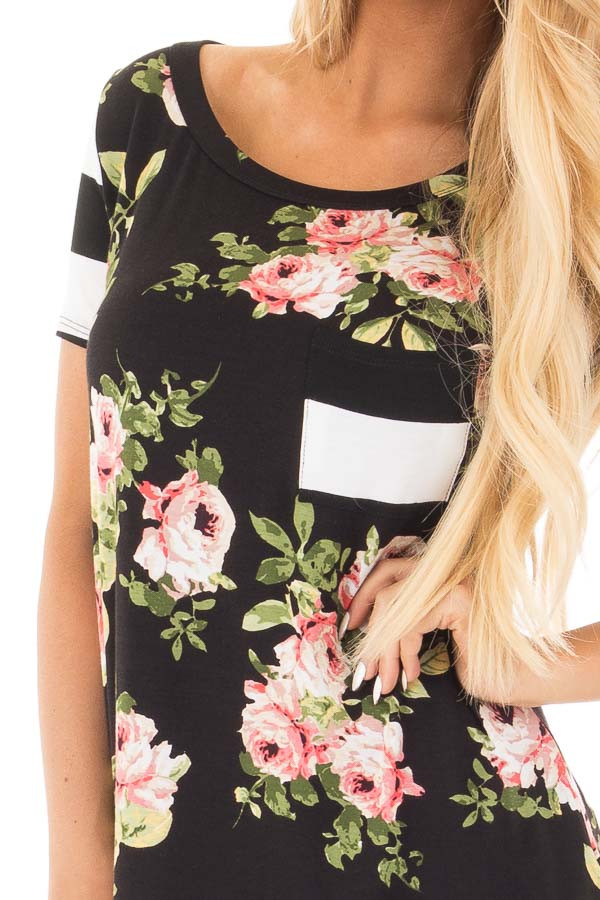 Black Top with Striped Contrast and Blush and Sage Floral Print detail