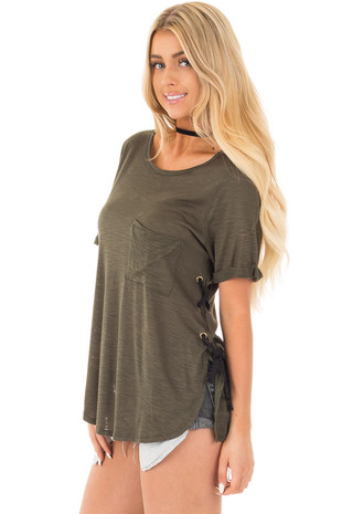 Olive Two Tone Tunic with Lace Up Sides and Cuffed Sleeves front close up